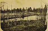 Postikortti Suomussalmen kirkosta, kortti on päivätty 29.7.1907